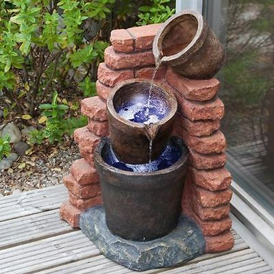 Solar Cascading Plant Pots Water Feature with LED Lights Battery Back Up