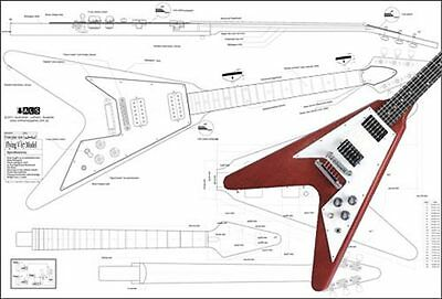 full scale plan of gibson les paul 59 electric guitar • 29 50 gibson flying v 67 electric guitar full scale plan