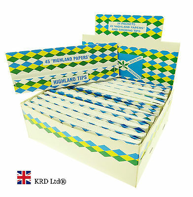 HIGHLAND DOUBLE DECADENCE Kingsize Cigarette Rolling Papers & Tips 24 Full Box