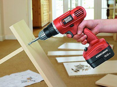 Black and Decker Cordless Electric Drill Driver Power Tool Plastic Wood Metal
