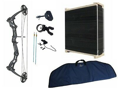 New Ultimate Package Black Adult Archery Hunting Compound Bow with Target Case