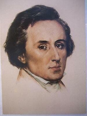 Frederic CHOPIN [1810-1849].Postcard of Lithograph print of painting by Scheffer