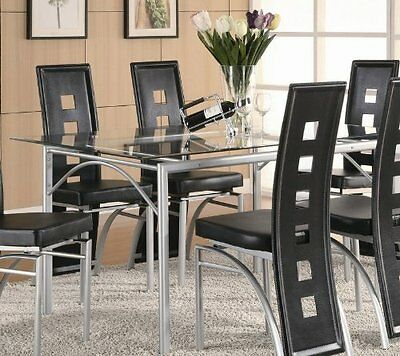 Dining Table Rectangular Glass Top Contemporary Modern Metal Style Dinette Room