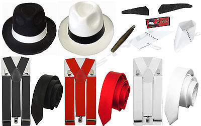 Mens Womens Gangster Pimp 1920's Hat Braces Spats Spiv Tash Fancy Dress Costume