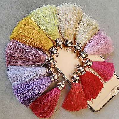 Newly 5PCS Handmade Silky Tassels Decoration Pendant Key Chains Bag Accessories