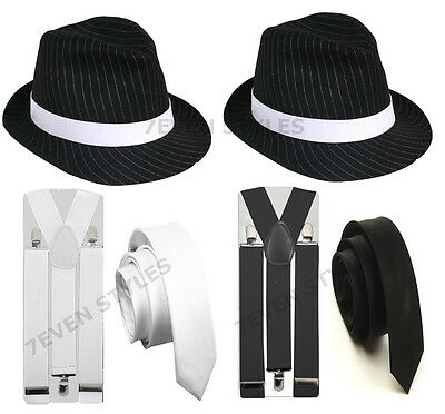 1920's Pinstripe Gangster Trilby Fedora Hat Tie Braces Party Fancy Dress Costume