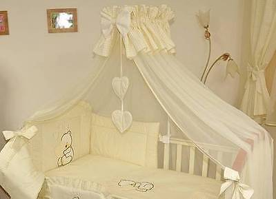 CORONET CANOPY + FREE FLOOR ROD 480cm WIDTH COVERS FULL COT BED - HEARTS CREAM