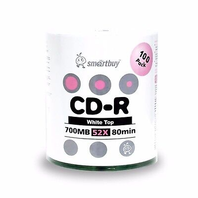 Smartbuy CD-R 52X 700MB/80Min White Top (Non-Printable) Blank Media Record Disc