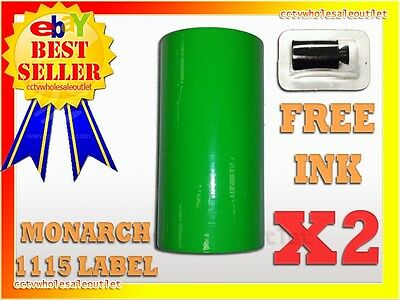 FLUORESCENT GREEN LABEL FOR MONARCH 1130 PRICING GUN 1 SLEEVE=10 ROLLS