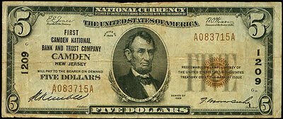 $5 Camden New Jersey First National Bank 1929~#1209~National Currency~