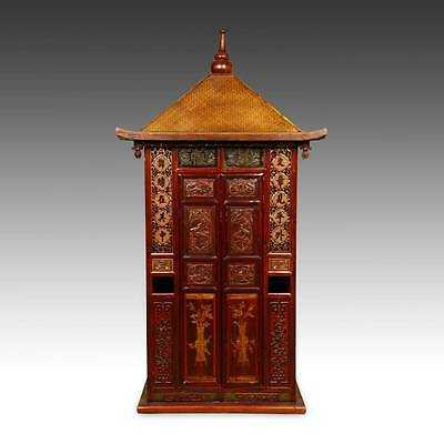 Rare Antique Chinese Wedding Sedan Chair 2 Doors Lacquered Gilded Fir 19Th C