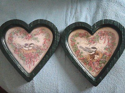 Home Interior set of 2 pictures Heartshape with Birds and green burwood frame