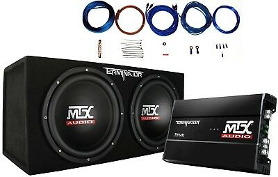 "MTX Terminator TNP212D2 1200W Dual 12"" Sub AND Box AND Amplifier AND Amp Kit"