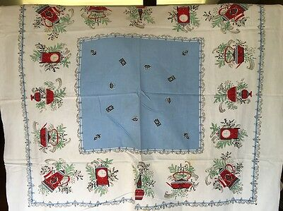 BEAUTIFUL Vintage COTTON PRINT TABLECLOTH TEA TIME SCROLL RED BABY BLUE 46x52