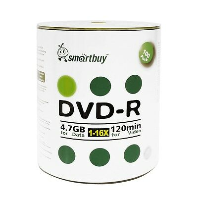 Smartbuy DVD-R 16X 4.7GB/120Min Logo Top (Non-Printable) Blank Media Record Disc