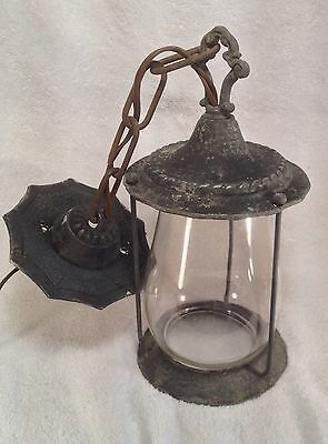 Vintage Aluminum Hanging Light Fixture - New Wiring - Great Vintage Patina!