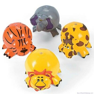 (12) JUNGLE ZOO ANIMAL Shaped Inflatable Beach Balls - Blow Up Pool Party Favor