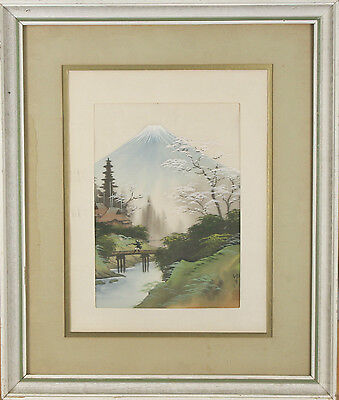 "Untitled (Vintage Japanese Mt. Fuji) Painting Signed & Stamped on Silk 19""x16"""