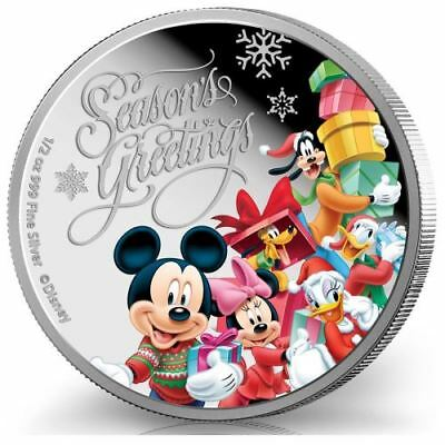NEW Perth Mint Disney Season's Greetings 2015 1/2oz Pure Silver Coin