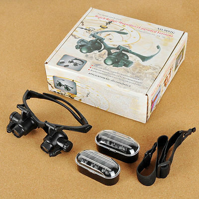 10X 15X 20X 25X LED Glasses Jeweler Magnifier Watch Repair Magnifying Loupe HC