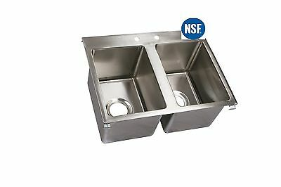 Stainless Steel Commercial (2) Two Compartment Drop In Sink with Faucet 19 x 33