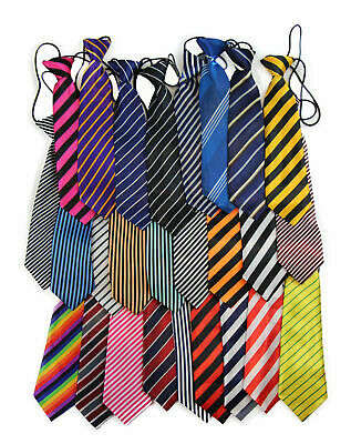Boys Satin Necktie Elastic Kids Party Wedding School Neck Tie -30 Stripe Styles!