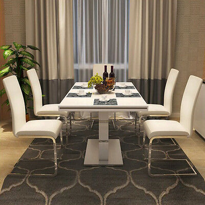 2/4/6 PCS DINING CHAIRS MODERN PU LEATHER Stainless Steel LEGS