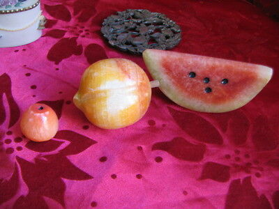 Art Deco/Vintage Bakelite Trinket Box, Alabaster Ashtray + Fruit figurines