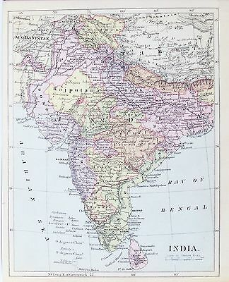 OLD ANTIQUE MAP INDIA SRI LANKA c1890's by MACLURE PRINTED COLOUR