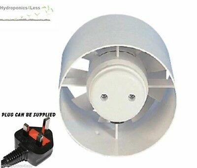 """Manrose Hydroponics Inline Extract Supply Fan Carbon Filters 4"""" 5"""" 6"""" UK Plug"""