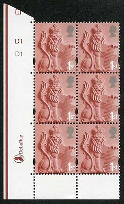 E-DONP1stA England DLR 1st Cyl 1/1 no dot block of 6