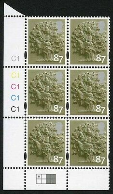 E-CONP87A England Cartor 87p Olive Green Cyl W1 dot bottom right block of 6