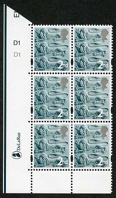 E-DONP1stC England DLR 1st Lake-brown (normal gum) Bottom right corner block of