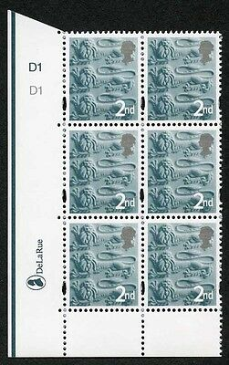 E-DONP2ndCb England DLR 2nd Slate Green (Tinted gum) Cyl D1 No Dot block of 6