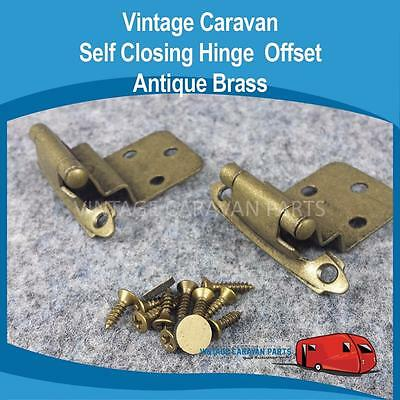 Caravan Self Closing Hinge Offset Antique Brass Vintage Viscount, Franklin H0130
