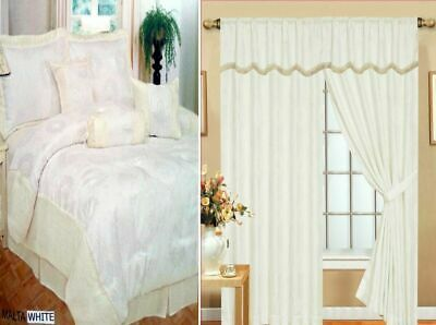 Curtains Pair Ready Made Fully Lined Pelmet 7 Piece Bedspread Comforter White