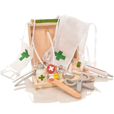 Childrens Wooden Doctor Set Medical Role Play Toy Kids Pretend Game Carry Case