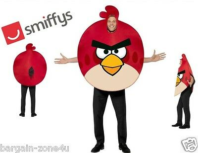 Smiffy's Angry Bird Adult Men Fancy Dress Party Red Costume Clothes