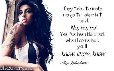 Amy Winehouse Rehab Quote Album Art Canvas Wall Art Poster Print Music Icon