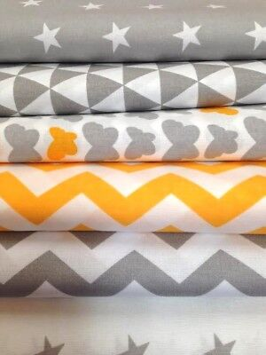 NEW GREY & MARIGOLD YELLOW orange 100%COTTON FABRIC by the metre CHEVRON ,STARS