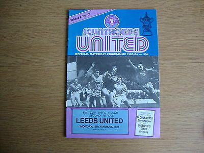 1983/4 Scunthorpe United v Leeds United - FA Cup 3rd Round 2nd Replay -EXCELLENT