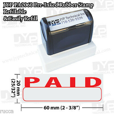 """New JYP PA2060 Pre-Inked Rubber Stamp with """"Paid"""" w. writing box"""