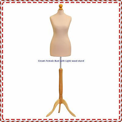 Cream Female Tailors Mannequin Display  Dummy For Dressmakers Size UK 12/14