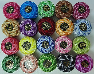 NEW 20 x VARIEGATED ANCHOR CROCHET COTTON THREAD BALLS 20 ASSORTED COLOURS