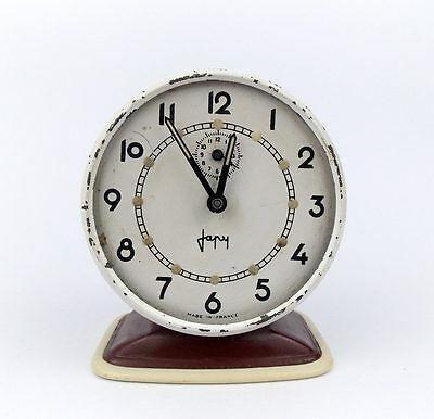 Vintage 1960s JAPY FRANCE Chrome Alarm clock Retro Old Desk table watch decor