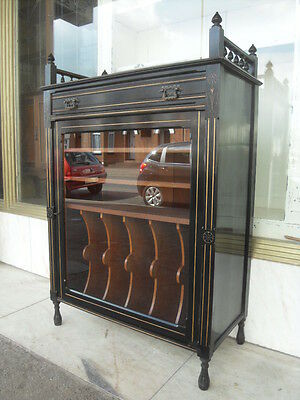 Victorian Antique Ebonised Music Cabinet / Victorian Aesthetic Glazed Cabinet
