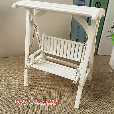 Miniature Yard Decoration White Wooden Chair Swings 1:12 Dollhouse Model