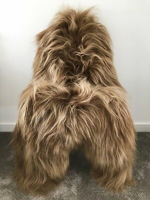 XXL Large Genuine Icelandic Dyed Blond Brisa Honey Brown Sheepskin Sheep Fur Rug