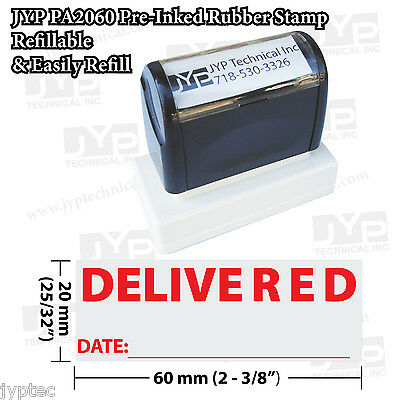 """New JYP PA2060 Pre-Inked Rubber Stamp with """"Delivered  w. Date"""""""