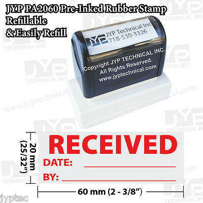 "New JYP PA2060 Pre-Inked Rubber Stamp with ""Received w. Date and By'"